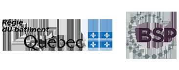 Régie du bâtiment Québec logo et BSP logo